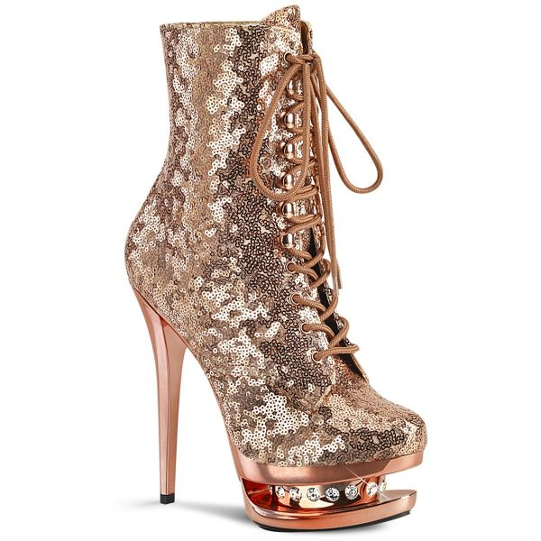 Product image of Pleaser BLONDIE-R-1020 Rose Gold Sequins/Rose Gold Chrome 6 inch (15.2 cm) Heel 1 1/2 inch (3.8 cm) Platform Lace-Up Sequins Ankle Boot Side Zip