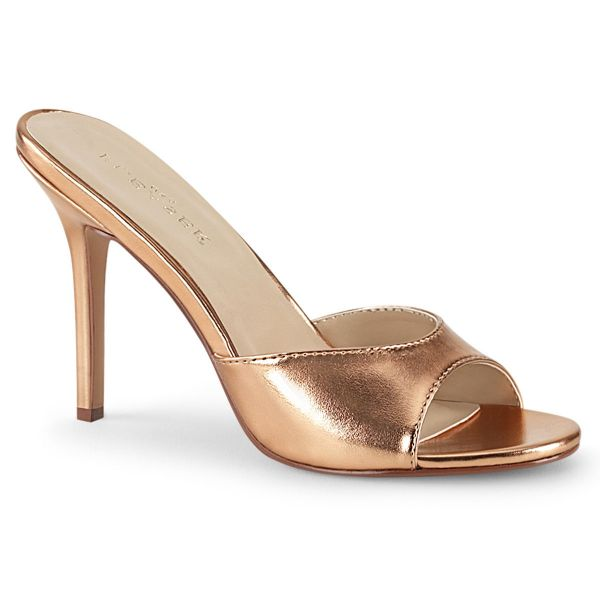 Product image of Pleaser CLASSIQUE-01 Rose Gold Metallic Polyurethane (Pu) 4 inch (10.2 cm) Heel Peep Toe Slide Slide Mule Shoes