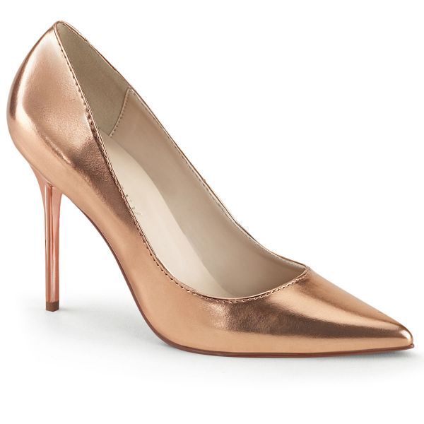 Product image of Pleaser CLASSIQUE-20 Rose Gold Metallic Polyurethane (Pu) 4 inch (10.2 cm) Heel Pointed Toe Pump Court Pump Shoes