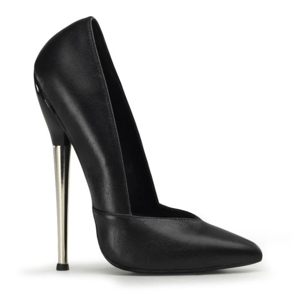 Product image of Devious DAGGER-03 Black Faux Leather 6 1/4 inch (15.9 cm) Solid Brass Heel V-Cut Plain Pump