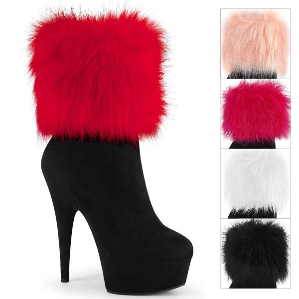 Product image of Pleaser DELIGHT-1000 Black Faux Suede/Black Faux Suede 6 inch (15.2 cm) Heel 1 3/4 inch (4.5 cm) Platform Ankle Bootie With Faux Fur Cuffs Inside Zip
