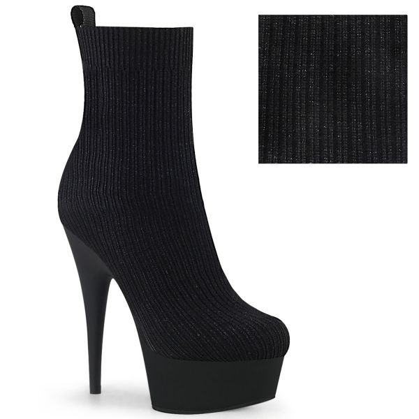 Product image of Pleaser DELIGHT-1002-2 Black Stretch Knit Fabric/Black Matte 6 inch (15.2 cm) Heel 1 3/4 inch (4.5 cm) Platform Pull-On Stretch Sock-Like Ankle Bootie