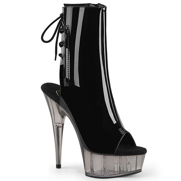 Product image of Pleaser DELIGHT-1018T Black Patent/Smoke Tinted 6 inch (15.2 cm) Heel 1 3/4 inch (4.5 cm) Tinted Platform Open Toe Ankle Boot Side Zip