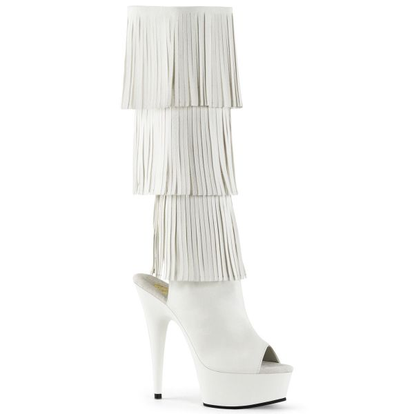 Product image of Pleaser DELIGHT-2019-3 White Faux Leather/White 6 inch (15.2 cm) Heel 1 3/4 inch (4.5 cm) Platform Fringe Knee Boot Side Zip Knee High Boot