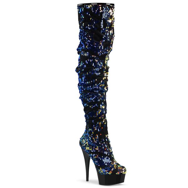 Product image of Pleaser DELIGHT-3004 Blue Iridescent Sequins/Black 6 inch (15.2 cm) Heel 1 3/4 inch (4.5 cm) Platform Slouch Thigh Boot Side Zip