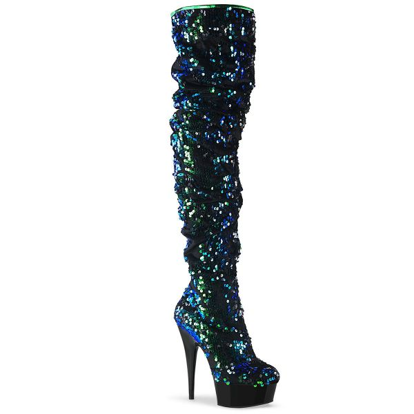 Product image of Pleaser DELIGHT-3004 Green Iridescent Sequins/Black 6 inch (15.2 cm) Heel 1 3/4 inch (4.5 cm) Platform Slouch Thigh Boot Side Zip