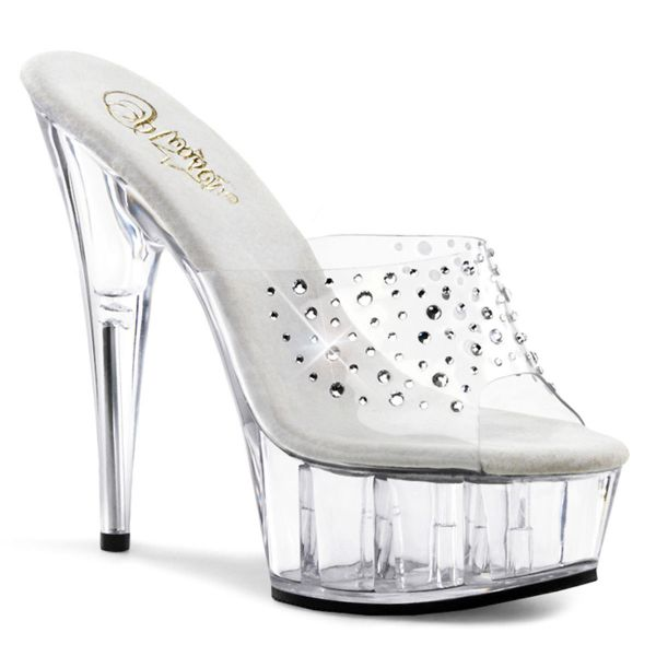 Product image of Pleaser DELIGHT-601RS Clear/Clear 6 inch (15.2 cm) Heel 1 3/4 inch (4.5 cm) Platform Slide Slide Mule Shoes
