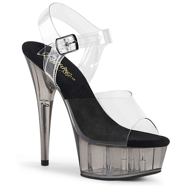 Product image of Pleaser DELIGHT-608T Clear/Smoke Tinted 6 inch (15.2 cm) Heel 1 3/4 inch (4.5 cm) Tinted Platform Ankle Strap Sandal Shoes