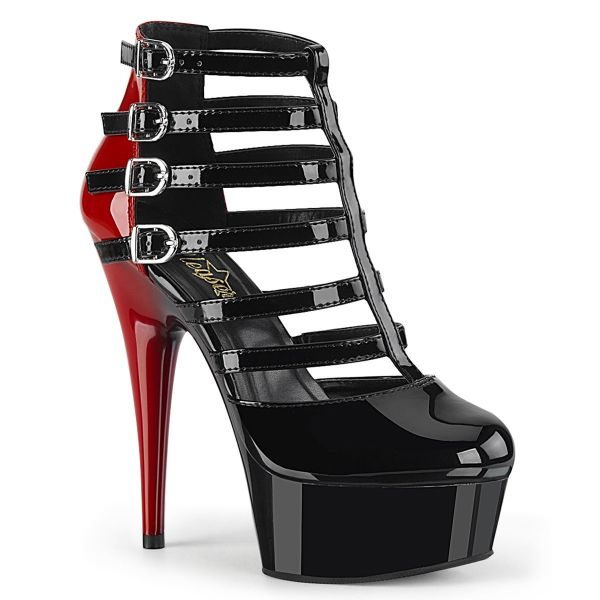 Product image of Pleaser DELIGHT-695 Black-Red Patent/Black 6 inch (15.2 cm) Heel 1 3/4 inch (4.5 cm) Platform Two Tone Buckles Strappy Cage Bootie