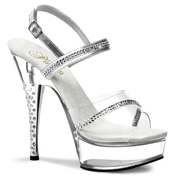 Product image of Pleaser DIAMOND-639 Silver/Clear 6 inch (15.2 cm) Rhinestones Embedded Heel Sling Back Platform Sandal Slide Mule Shoes