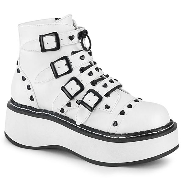 Product image of Demonia EMILY-315 White Vegan Faux Leather 2 inch Platform Lace-Up Front/Buckles Straps Ankle Boot Side Zip