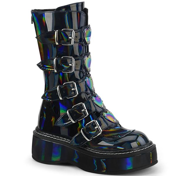 Product image of Demonia EMILY-330 Black Holographic 2 inch (5.1 cm) Platform Calf High With  5 Buckles Straps Back Metal Zip