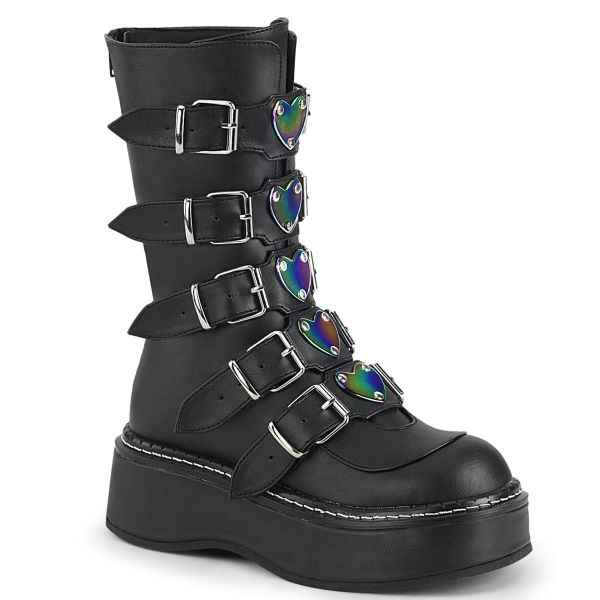 Product image of Demonia EMILY-330 Black Vegan Faux Leather 2 inch (5.1 cm) Platform Calf High With  5 Buckles Straps Back Metal Zip