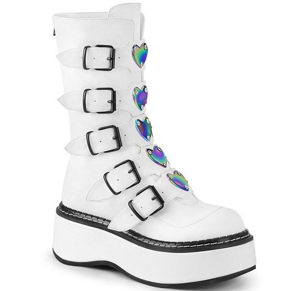 Product image of Demonia EMILY-330 White Vegan Faux Leather 2 inch (5.1 cm) Platform Calf High With  5 Buckles Straps Back Metal Zip