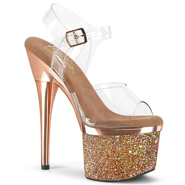 Product image of Pleaser ESTEEM-708CHLG Clear/Rose Gold Chrome-Multicolour Glitter 7 inch (17.8 cm) Heel 3 inch (7.6 cm) Platform Ankle Strap Sandal