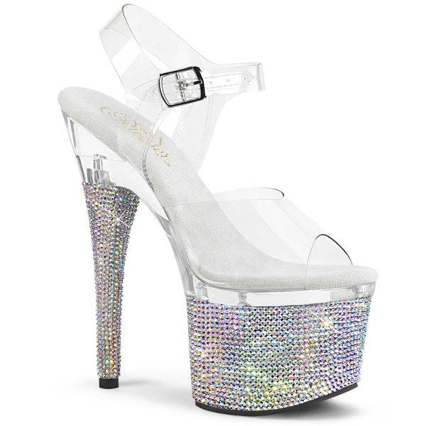 Product image of Pleaser ESTEEM-708DM Clear/Clear-Silver Rhinestones 7 inch (17.8 cm) Heel 3 inch (7.6 cm) Platform Ankle Strap Sandal With Rs Shoes