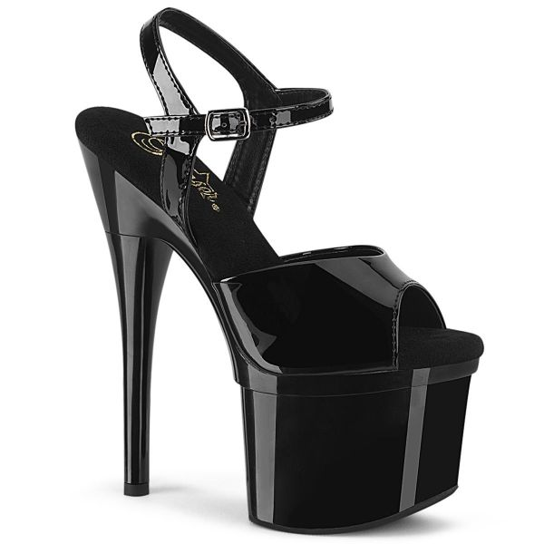 Product image of Pleaser ESTEEM-709 Black Patent/Black 7 inch (17.8 cm) Heel 3 inch (7.6 cm) Platform Ankle Strap Sandal Shoes