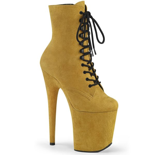 Product image of Pleaser FLAMINGO-1020FS Mustard Faux Suede/Mustard Faux Suede 8 inch (20.3 cm) Heel 4 inch (10.2 cm) Platform Lace-Up Front Ankle Boot Side Zip