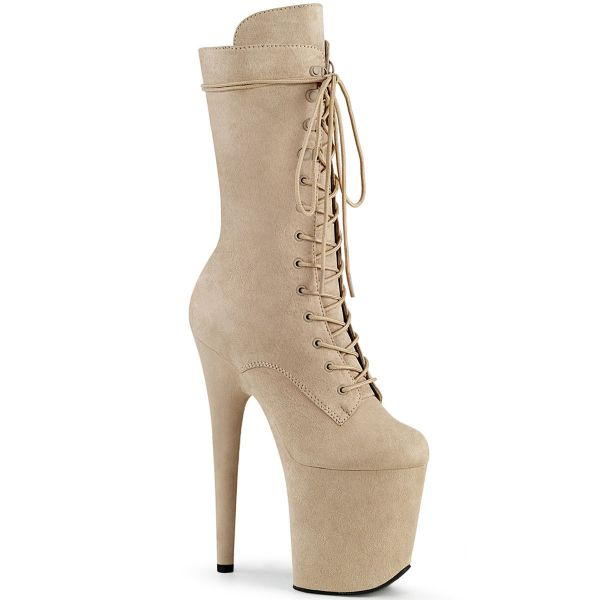 Product image of Pleaser FLAMINGO-1050FS Beige Faux Suede/Beige Faux Suede 8 inch (20 cm) Heel 4 inch (10 cm) Platform Lace-Up Front Mid Calf Boot Side Zip