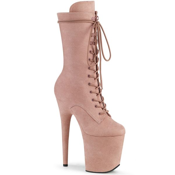 Product image of Pleaser FLAMINGO-1050FS Dusty Blush F Faux Suede/Dusty Blush F.Faux Suede 8 inch (20 cm) Heel 4 inch (10 cm) Platform Lace-Up Front Mid Calf Boot Side Zip