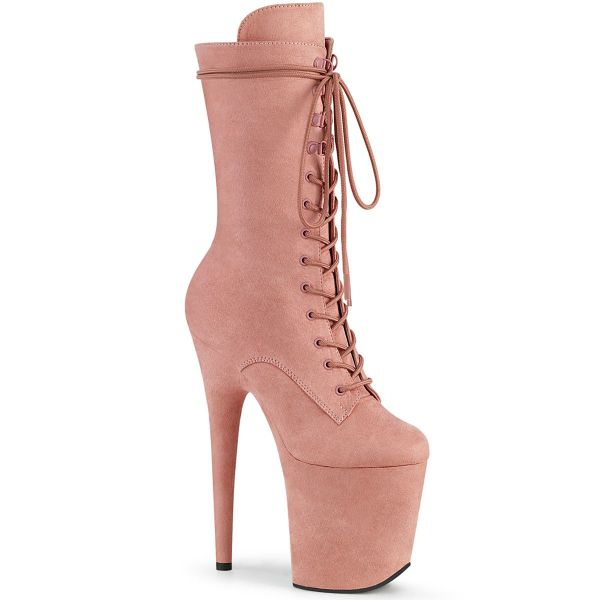 Product image of Pleaser FLAMINGO-1050FS Baby Pink Faux Suede/Baby Pink Faux Suede 8 inch (20 cm) Heel 4 inch (10 cm) Platform Lace-Up Front Mid Calf Boot Side Zip