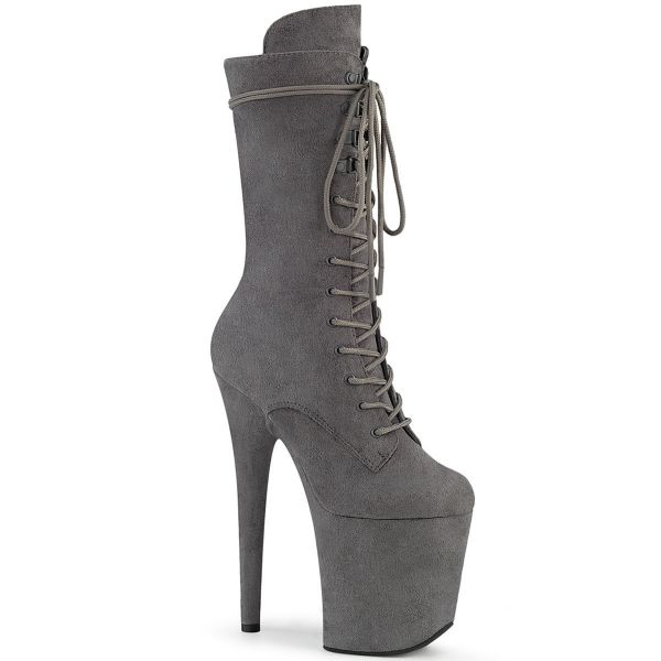 Product image of Pleaser FLAMINGO-1050FS Grey Faux Suede/Grey Faux Suede 8 inch (20 cm) Heel 4 inch (10 cm) Platform Lace-Up Front Mid Calf Boot Side Zip