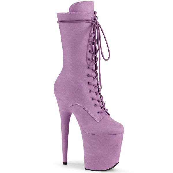 Product image of Pleaser FLAMINGO-1050FS Lilac Faux Suede/Lilac Faux Suede 8 inch (20 cm) Heel 4 inch (10 cm) Platform Lace-Up Front Mid Calf Boot Side Zip
