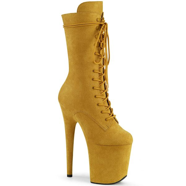 Product image of Pleaser FLAMINGO-1050FS Mustard Faux Suede/Mustard Faux Suede 8 inch (20 cm) Heel 4 inch (10 cm) Platform Lace-Up Front Mid Calf Boot Side Zip