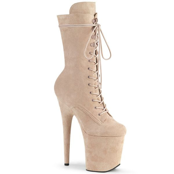 Product image of Pleaser FLAMINGO-1050FS Nude Faux Suede/Nude Faux Suede 8 inch (20 cm) Heel 4 inch (10 cm) Platform Lace-Up Front Mid Calf Boot Side Zip