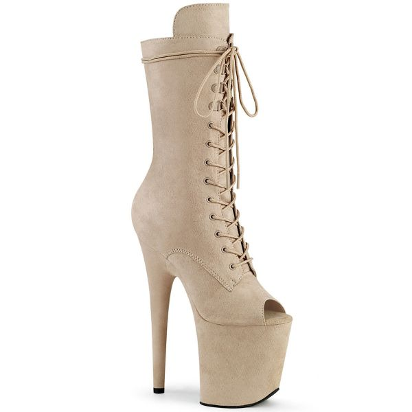 Product image of Pleaser FLAMINGO-1051FS Beige Faux Suede/Beige Faux Suede 8 inch (20 cm) Heel 4 inch (10 cm) Platform Peep Toe Lace-Up Mid Calf Boot Side Zip