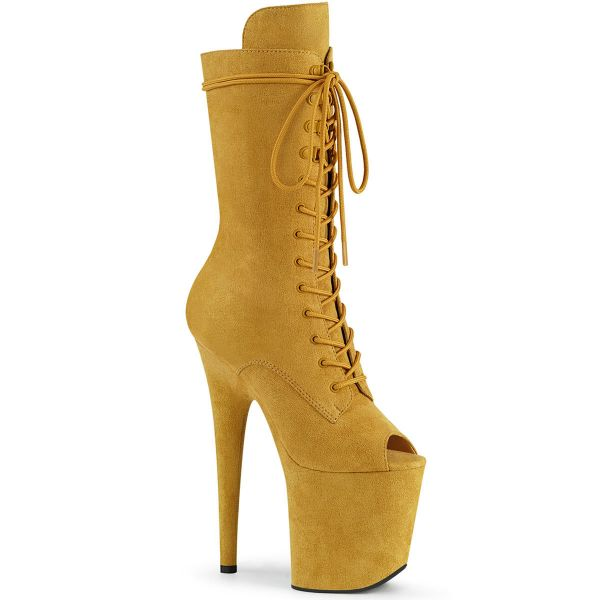 Product image of Pleaser FLAMINGO-1051FS Mustard Faux Suede/Mustard Faux Suede 8 inch (20 cm) Heel 4 inch (10 cm) Platform Peep Toe Lace-Up Mid Calf Boot Side Zip
