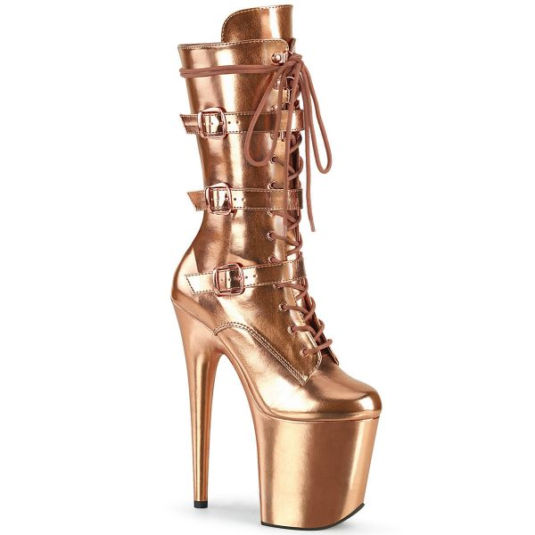 Product image of Pleaser FLAMINGO-1053 Rose Gold Metallic Polyurethane (Pu)/Rose Gold Metallic Polyurethane (Pu) 8 inch (20 cm) Heel 4 inch (10 cm) Platform Lace-Up Front Mid Calf Boot Side Zip