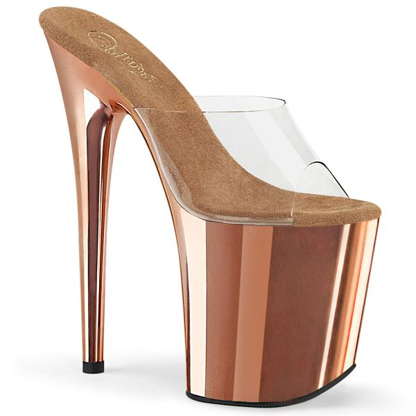 Product image of Pleaser FLAMINGO-801 Clear/Rose Gold Chrome 8 inch (20 cm) Heel 4 inch (10 cm) Chrome Plated Platform Slide Slide Mule Shoes
