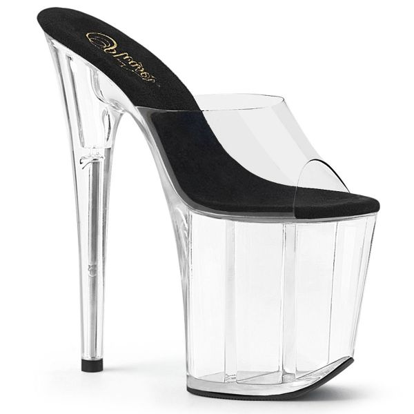 Product image of Pleaser FLAMINGO-801 Clear-Black/Clear 8 inch (20 cm) Heel 4 inch (10 cm) Platform Slide Slide Mule Shoes