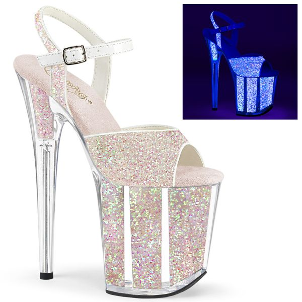 Product image of Pleaser FLAMINGO-810UVG Neon Multicolour Glitter/Neon Multicolour Glitter 8 inch (20 cm) Heel 4 inch (10 cm) Platform Ankle Strap Sandal With Glitter Inserts