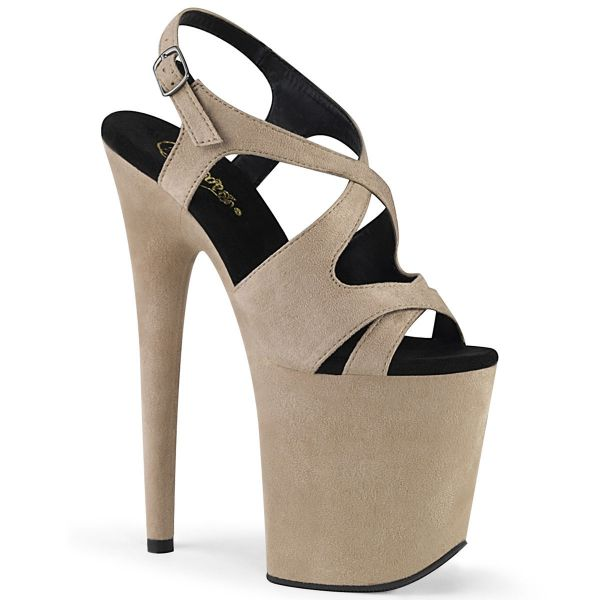Product image of Pleaser FLAMINGO-831FS Beige Faux Suede/Beige Faux Suede 8 inch (20 cm) Heel 4 inch (10 cm) Platform Criss Cross Sling Back Sandal Shoes