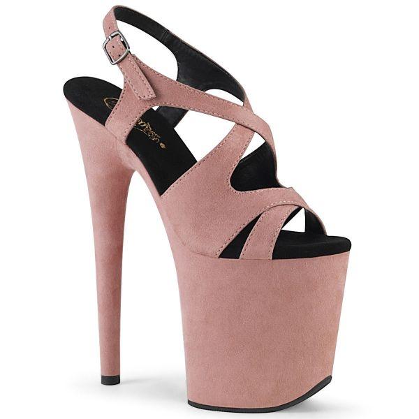 Product image of Pleaser FLAMINGO-831FS Baby Pink Faux Suede/Baby Pink Faux Suede 8 inch (20 cm) Heel 4 inch (10 cm) Platform Criss Cross Sling Back Sandal Shoes