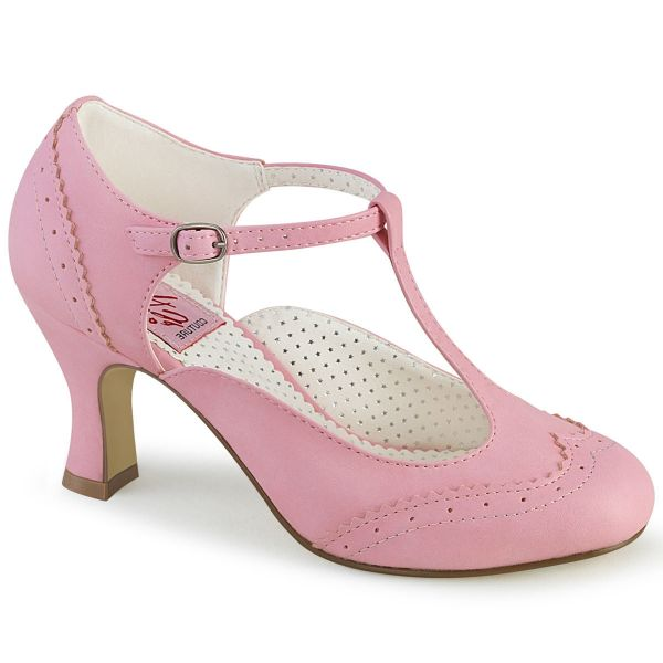 Product image of Pin Up Couture FLAPPER-26 Baby Pink Faux Leather 3 inch (7.6 cm) Kitten Heel Round Toe T-Straps Pump Court Pump Shoes