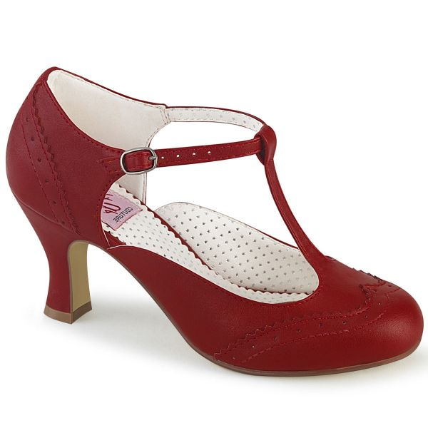 Product image of Pin Up Couture FLAPPER-26 Red Faux Leather 3 inch (7.5 cm) Kitten Heel Round Toe T-Straps Pump Court Pump Shoes