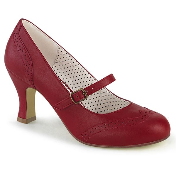 Product image of Pin Up Couture FLAPPER-32 Red Faux Leather 3 inch (7.5 cm) Kitten Heel Round Toe Maryjane Pump Court Pump Shoes