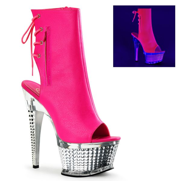Product image of Pleaser ILLUSION-1018CH Neon Hot Pink Faux Leather/Silver Chrome 6 1/2 inch (16.5 cm) Heel 2 1/2 inch (6.4 cm) Platform Textured Platform Boot Side Zip