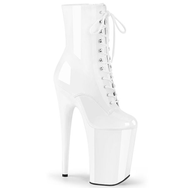 Product image of Pleaser INFINITY-1020 White Patent/White 9 inch (23 cm) Heel 5 1/4 inch (13.5 cm) Platform Lace-Up Front Ankle Boot Side Zip