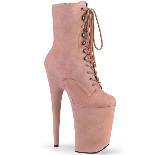 Product image of Pleaser INFINITY-1020FS Baby Pink Faux Suede/Baby Pink Faux Suede 9 inch (23 cm) Heel 5 1/4 inch (13.5 cm) Platform Lace-Up Front Ankle Boot Side Zip