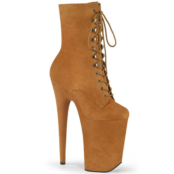 Product image of Pleaser INFINITY-1020FS Camel Faux Suede/Camel Faux Suede 9 inch (23 cm) Heel 5 1/4 inch (13.5 cm) Platform Lace-Up Front Ankle Boot Side Zip