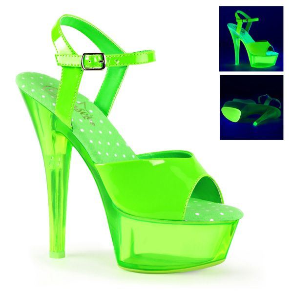 Product image of Pleaser KISS-209UVT Neon Green Patent/Neon Clear Green 6 inch (15.2 cm) Heel 1 3/4 inch (4.5 cm) Platform Ankle Strap Sandal