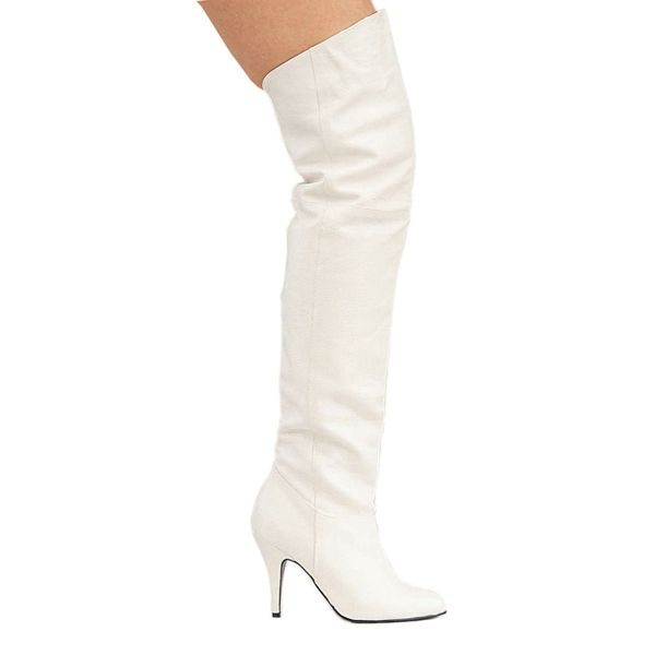 Product image of Pleaser LEGEND-8868 White Faux Leather (P) 4 inch (10 cm) Pull-On Thigh Bt With  Elasticated Gusset
