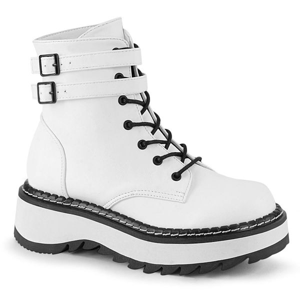 Product image of Demonia LILITH-152 White Vegan Faux Leather 1 1/4 inch (3.2 cm) Platform Lace-Up Ankle Boot Side Zip