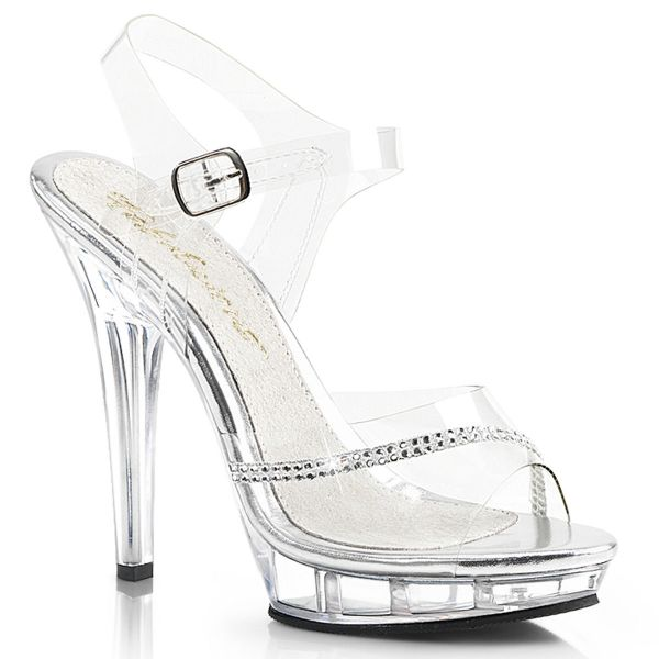 Product image of Fabulicious LIP-108R Clear/Clear 5 inch (12.7 cm) Heel 3/4 inch (1.9 cm) Platform Ankle Strap Sandal With  Rhinestones