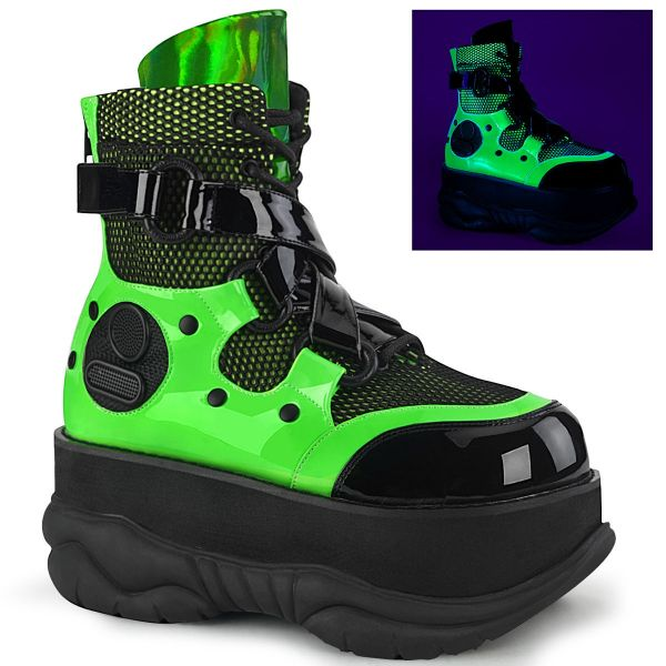 Product image of Demonia NEPTUNE-126 Black-Green Patent Multicolour 3  inch (7.6 cm) Platform Lace-Up Ankle Boot