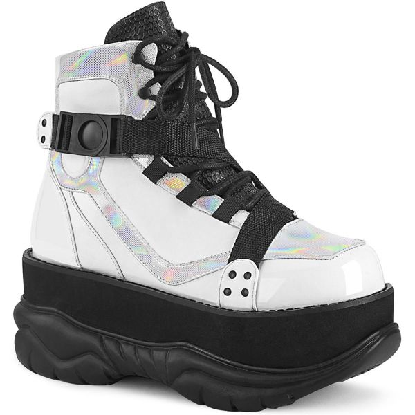 Product image of Demonia NEPTUNE-181 White Vegan Faux Leather Multicolour 3  inch (7.6 cm) Platform Lace-Up Ankle Boot
